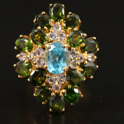Sterling Tourmaline, Topaz and Tanzanite Star Motif Ring
