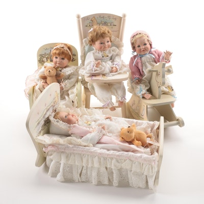 Winnie the Pooh Themed Joan Ibarolle Porcelain Dolls and Accessories