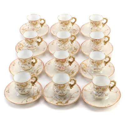 Japanese Bone China Gilt Moriage Demitasse Cup and Saucer Set for Twelve
