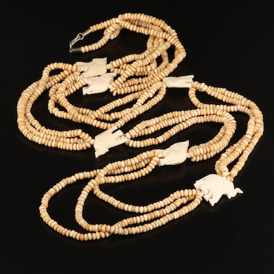 Multi-Strand Bone Necklace with Elephant Motif