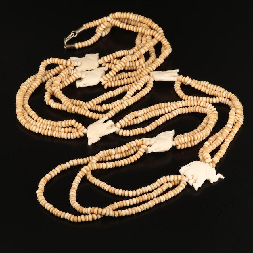Multi-Strand Bone Necklace with Elephant Motif