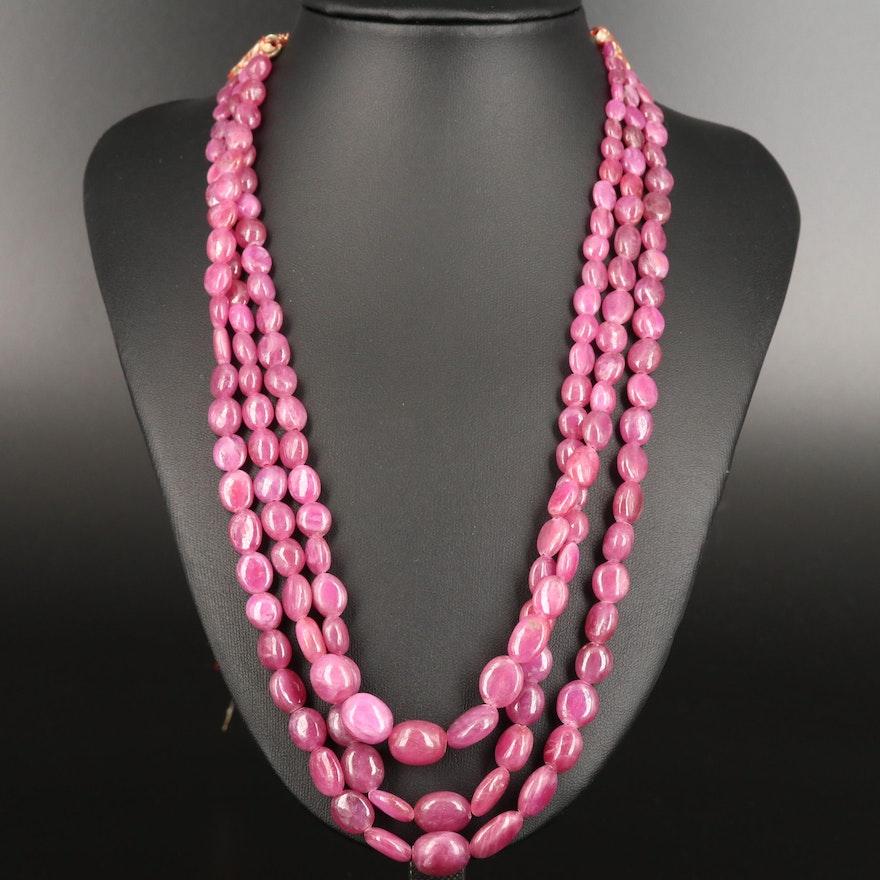 Corundum Multi-Strand Necklace with Red Cord