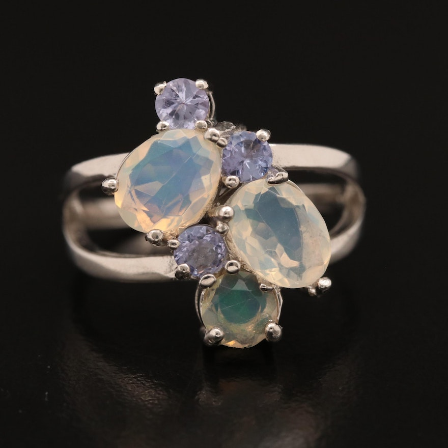 Sterling Silver Opal and Tanzanite Cluster Ring