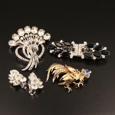 Rhinestone Jewelry Featuring Eisenberg, Dress Clip Duette and Sterling Silver