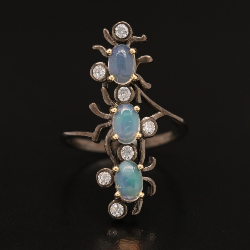 Sterling Opal and Cubic Zirconia Insect Trio Ring