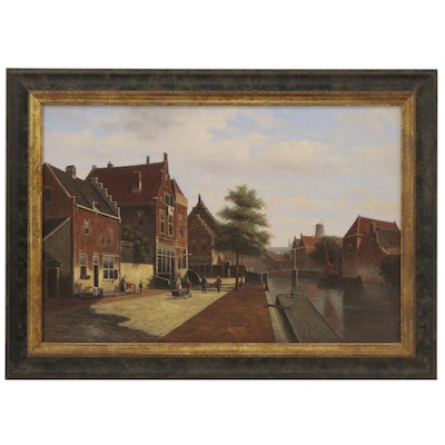 "Street Scene Oil Painting after Willem Koekkoek ""Along the Canal"""