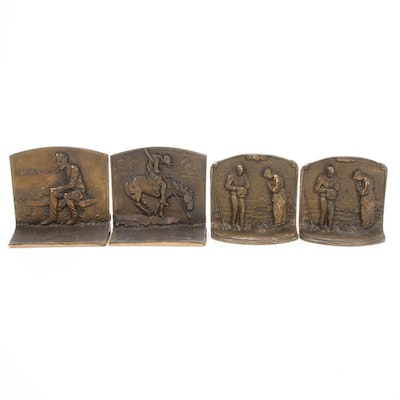 "Cast Bronze ""The Angelus"" after Jean-Francois Millet and Other Bookends"