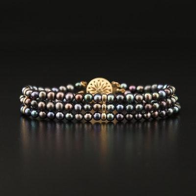 14K Pearl Multi-Strand Bracelet