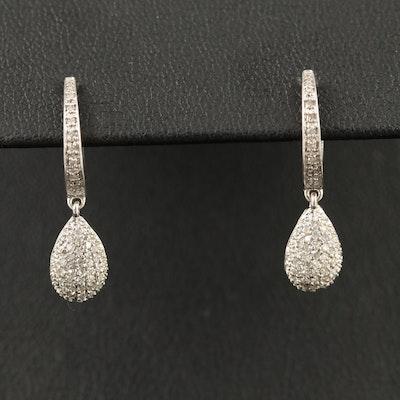 14K Diamond Teardrop Dangle Earrings