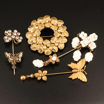 Vintage Miriam Haskell Rhinestone, Glass and Faux Pearl Brooch and Stick Pins