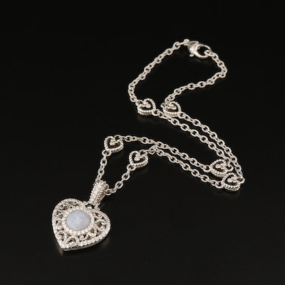 Judith Ripka Sterling Silver Blue Lace Agate Heart Enhancer Pendant Necklace