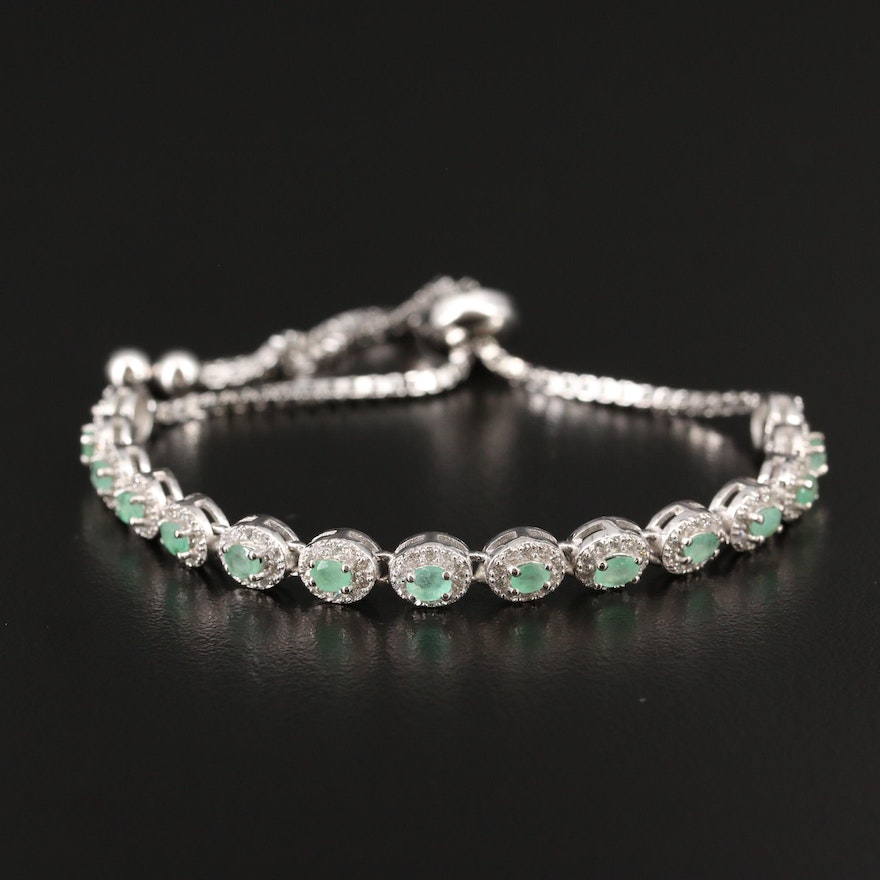 Sterling Silver Emerald and Cubic Zirconia Bolo Bracelet