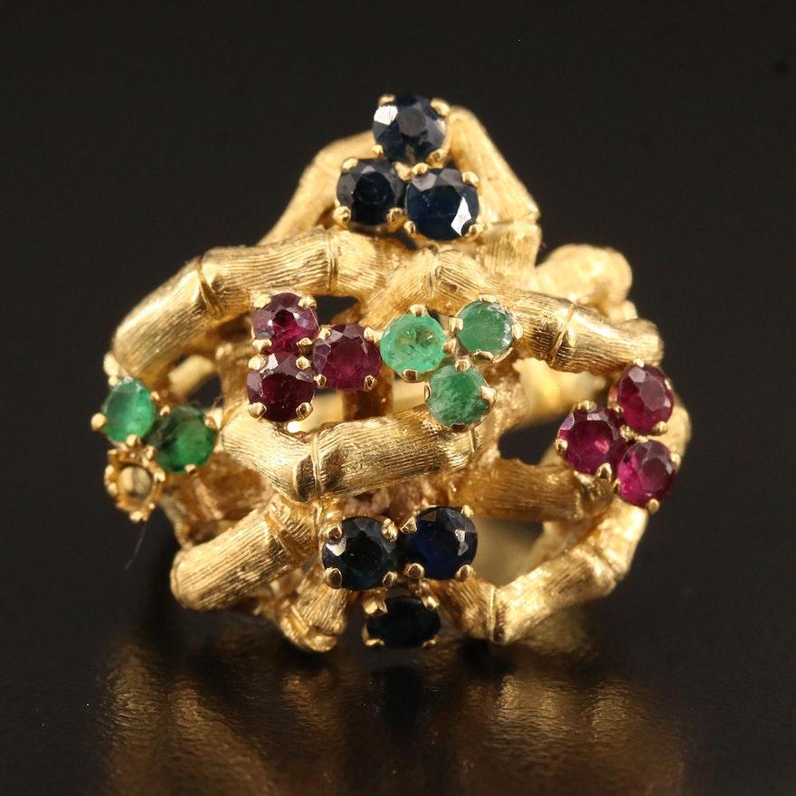 18K Sapphire, Ruby and Emerald Biomorphic Bamboo Ring
