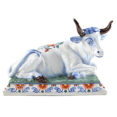 Dutch Style Hand-Painted Ceramic Bull Figurine