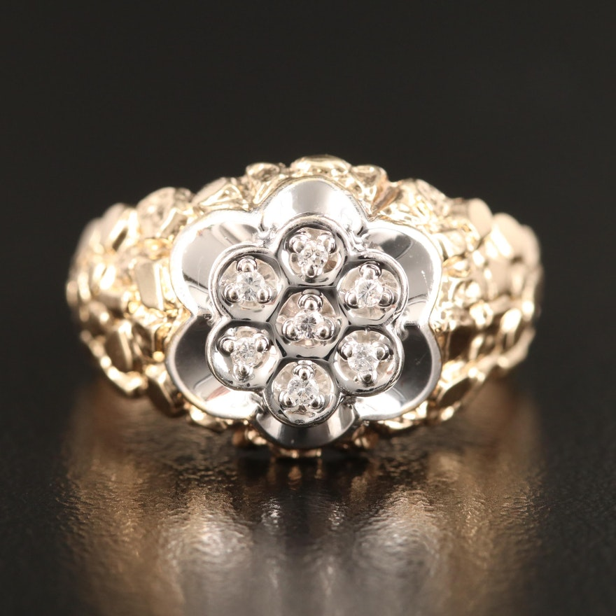10K Diamond Cluster Ring with Nugget Shoulders