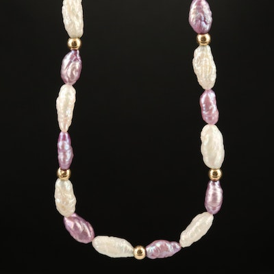 Pearl Beaded Necklace with 14K Clasp and Spacer Beads