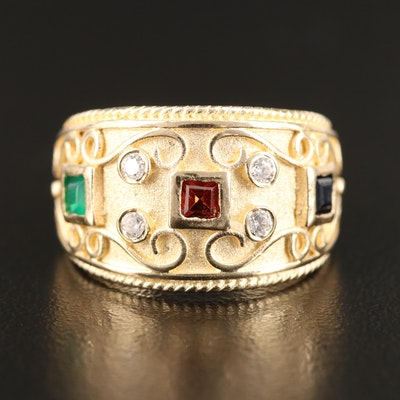 14K Garnet, Sapphire, Faux Emerald and Cubic Zirconia Tapered Band