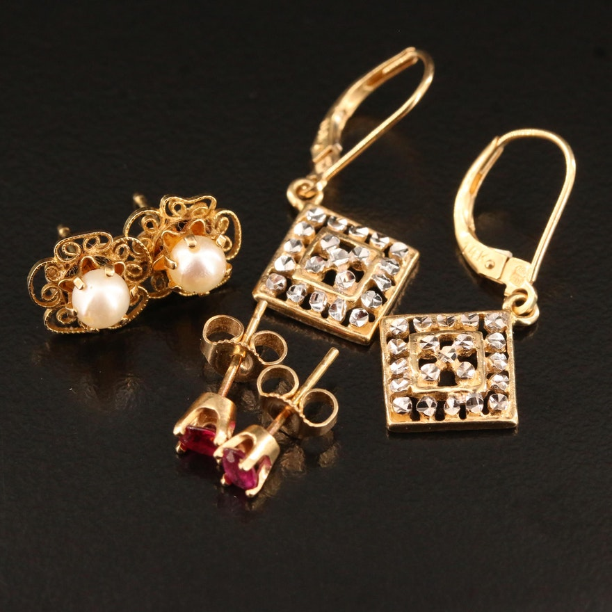 Selected 14K Stud and Drop Earrings Featuring Rubies and Pearls