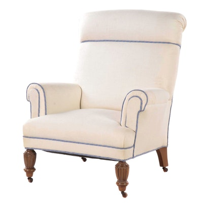 Contemporary Rolled Back Linen Lounge Chair