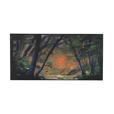 "Douglas ""Bumo"" Johnpeer Landscape Oil Painting ""Forest River"", 2020"