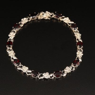 Sterling Garnet Flower Motif Bracelet
