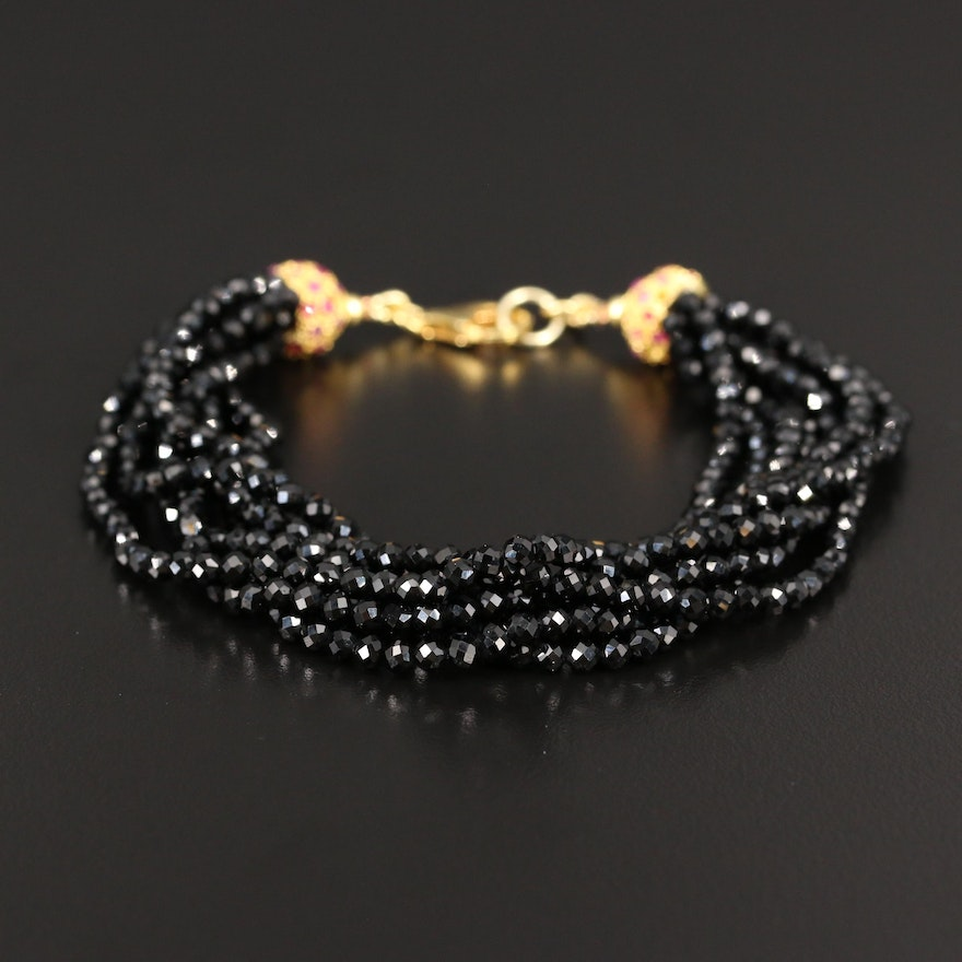 Faceted Beaded Bracelet with Sterling Silver Ruby Clasp