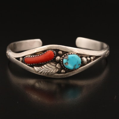 Signed Western Sterling Turquoise and Coral Cuff