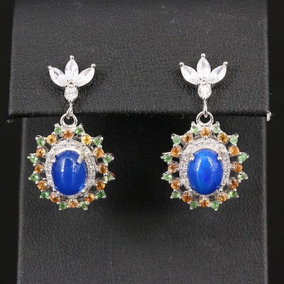 Sterling Silver Opal, Sapphire and Cubic Zirconia Dangle Earrings