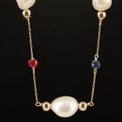 14K Pearl and Corundum Station Necklace