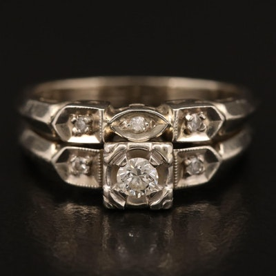 Vintage 14K Diamond Ring Set with Presentation Box