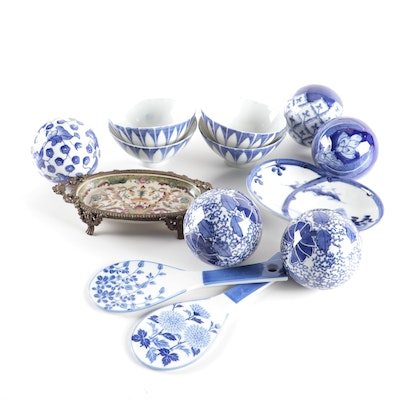 Chinese Blue and White Ceramic Bowls, Spoon Rests, and Other Decor