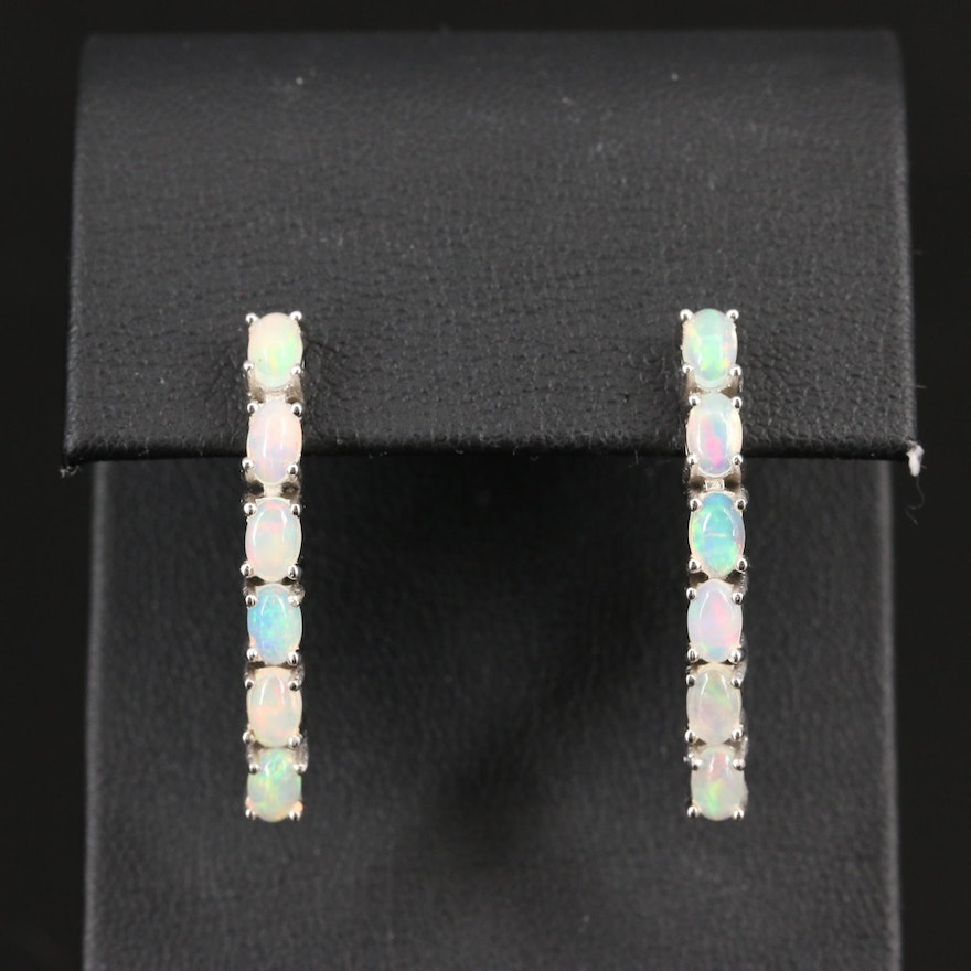 Sterling Silver Opal Drop Earrings