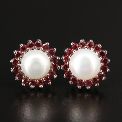 Sterling Silver Pearl and Rhodolite Garnet Stud Earrings
