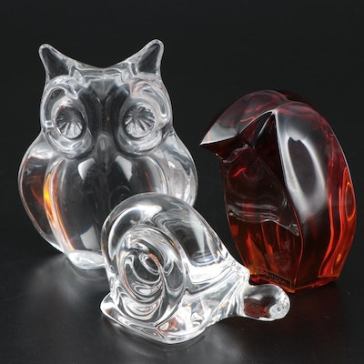 Daum France, Saint Lewis France Art Glass Paperweights with Other Snail Figurine