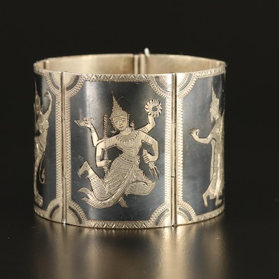 Thai Sterling Dancer Niello Panel Bracelet