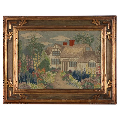 Crewel Embroidery Picture of Cottage in Stratford-upon-Avon, 20th Century