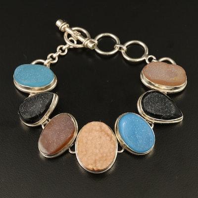 Sterling Silver Druzy Link Bracelet