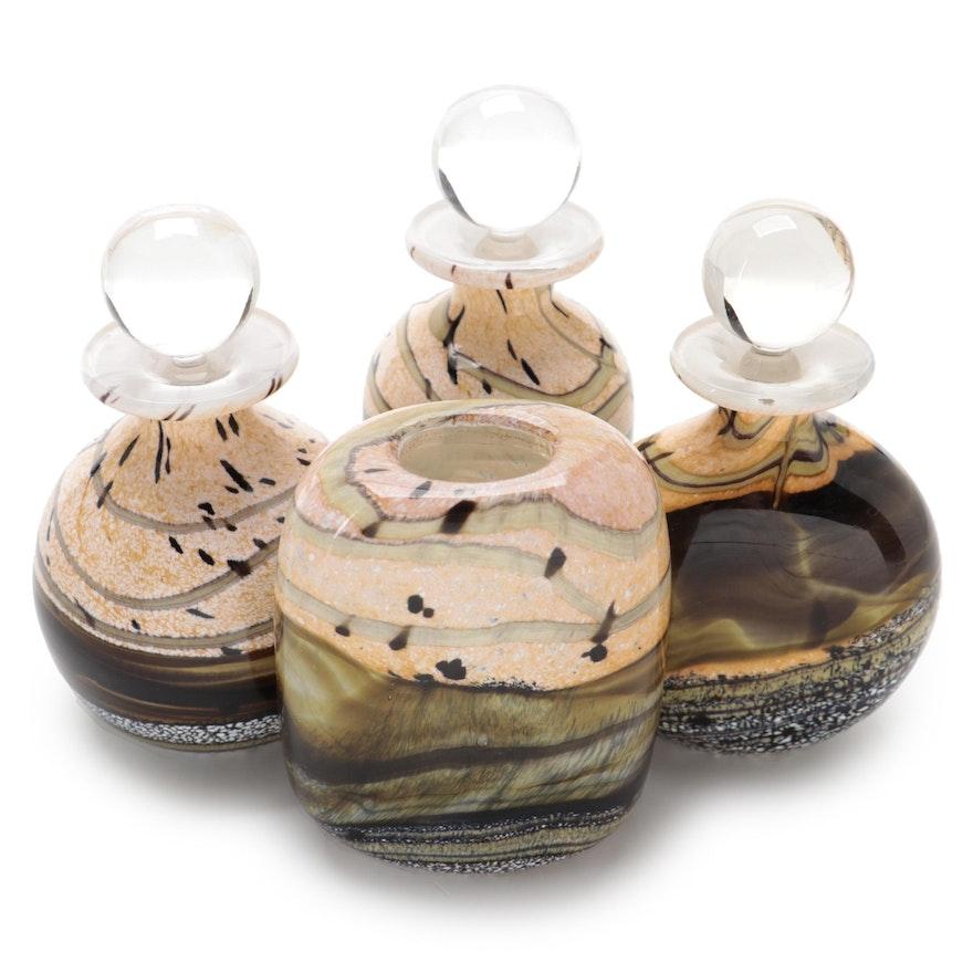 "Gozo Art Glass ""Seashell"" Decorative Bottles and Bud Vase"