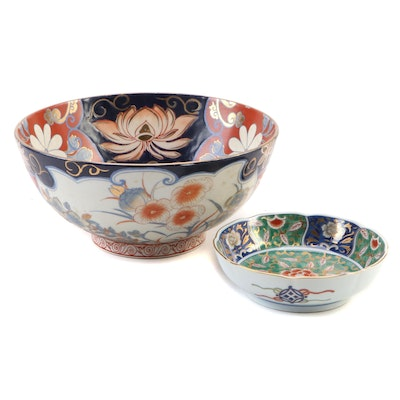 Antique Japanese Imari Porcelain Bowl with Other Dish