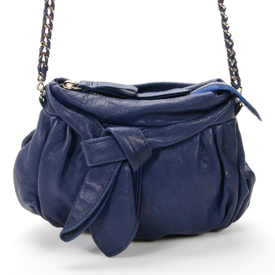 Junior Drake Chain Strap Crossbody in Blue Leather