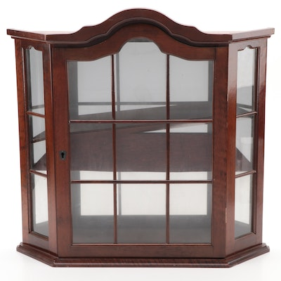 Arch Top Wall Mount Wood Curio Cabinet with Window Pane Door and Sides