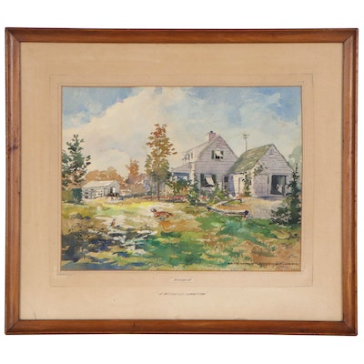 """Ernest Cramer Watercolor Painting """"Windhook, In the Good Old Summertime"""""""