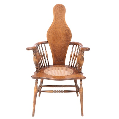 American Oak Pressed-Back Armchair, circa 1900