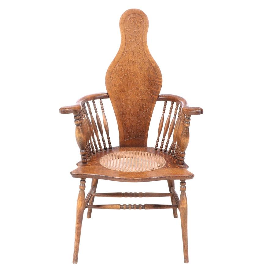 American Oak Pressed-Back Armchair, circa 1900