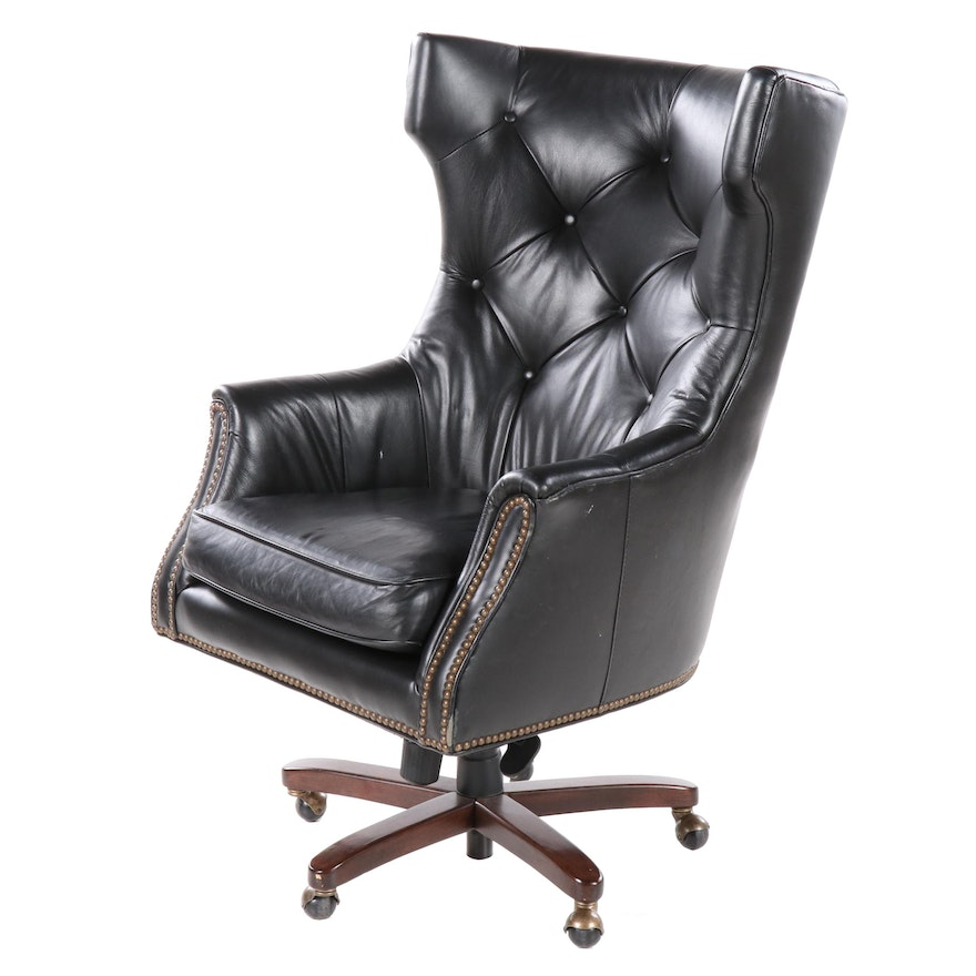 Button Tufted Leather Wing Back Swivel Office Chair, Late 20th Century