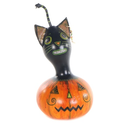 "Rosey Bolte Folk Art Gourd Sculpture ""Black Cat in Jack O' Lantern"""