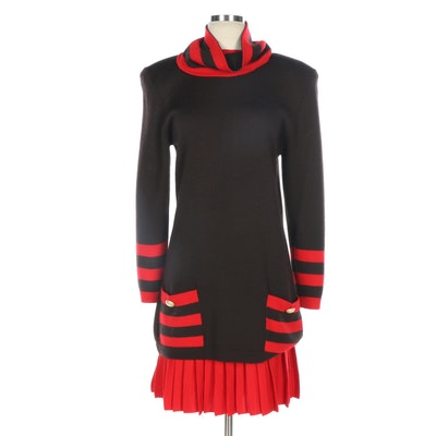 St. John by Marie Gray Knit Sweater and Skirt with Knit Gaiter
