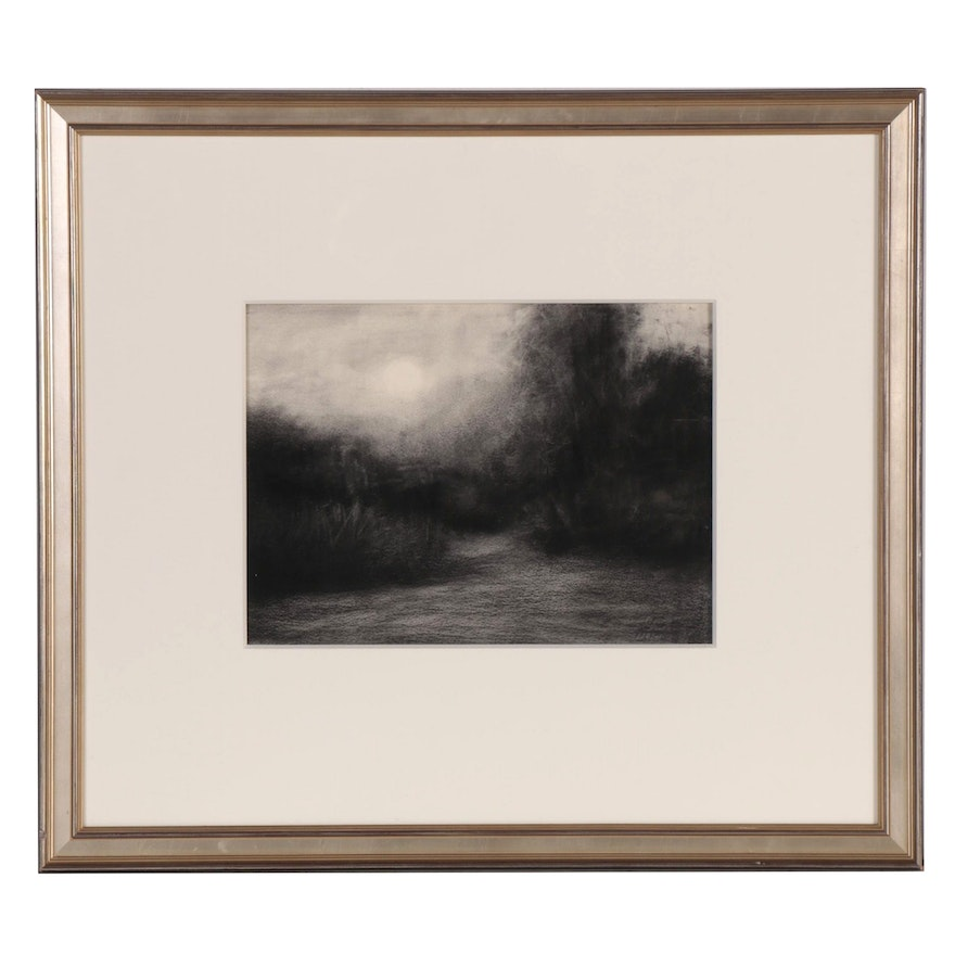 M. Katherine Hurley Charcoal and Pastel Landscape Drawing