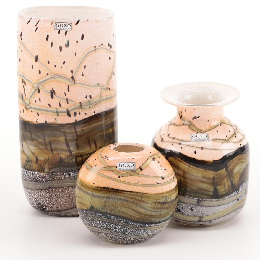"Gozo ""Seashell"" Art Glass Vases and Bud Vase"