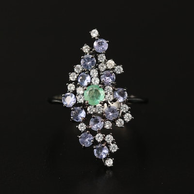Sterling Silver Emerald, Tazanite and Cubic Zirconia Cluster Ring